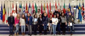 Grupo de Periodismo UMH con el eurodiputado Andrés Perelló, en Bruselas.
