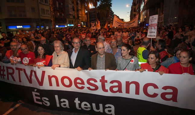 Manifestación en Alicante contra el cierre de la RTVV.